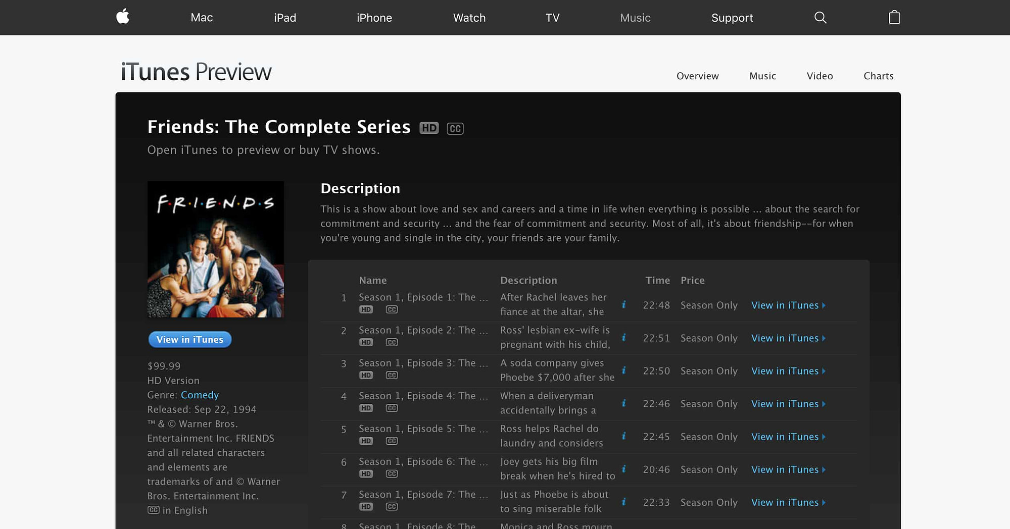 Friends the complete series itunes