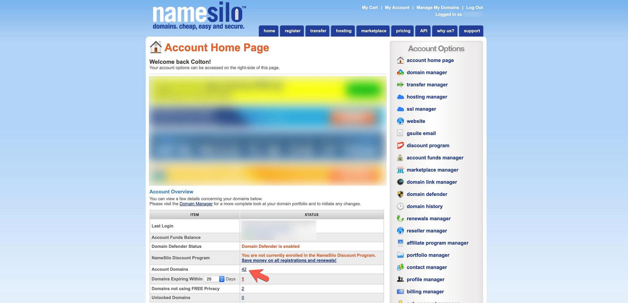 NameSilo Account Panel