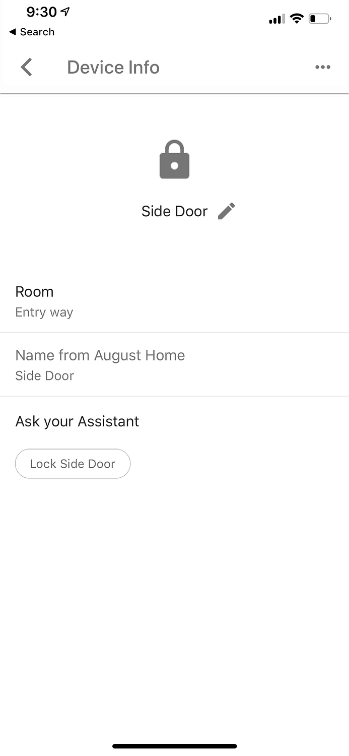 Google Assistant August Lock Configured