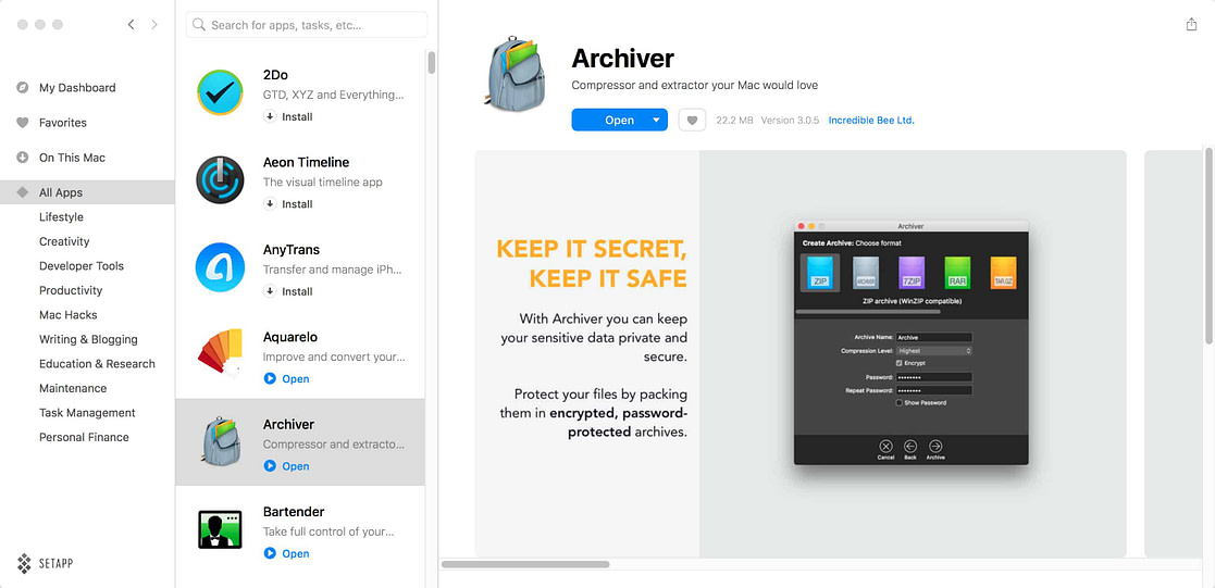 Archiver All Apps Setapp UI