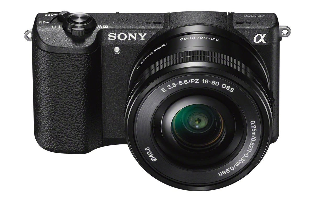 A front look at the Sony a5100 Mirrorless Camera Kit.