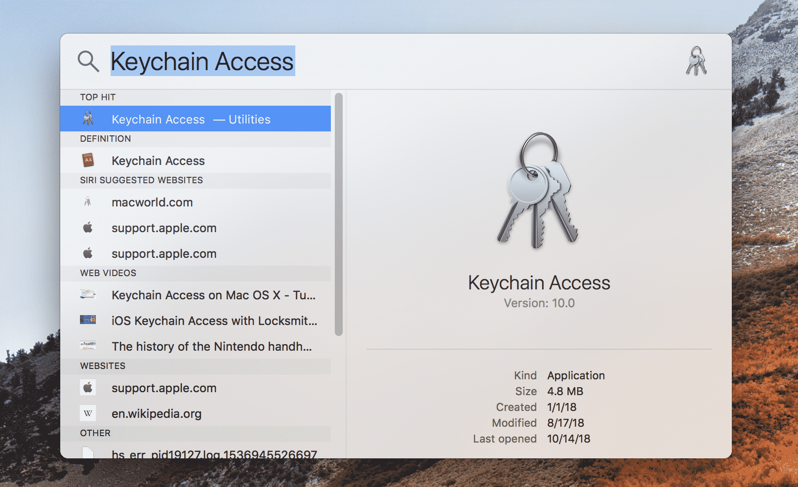 Keychain Access Spotlight
