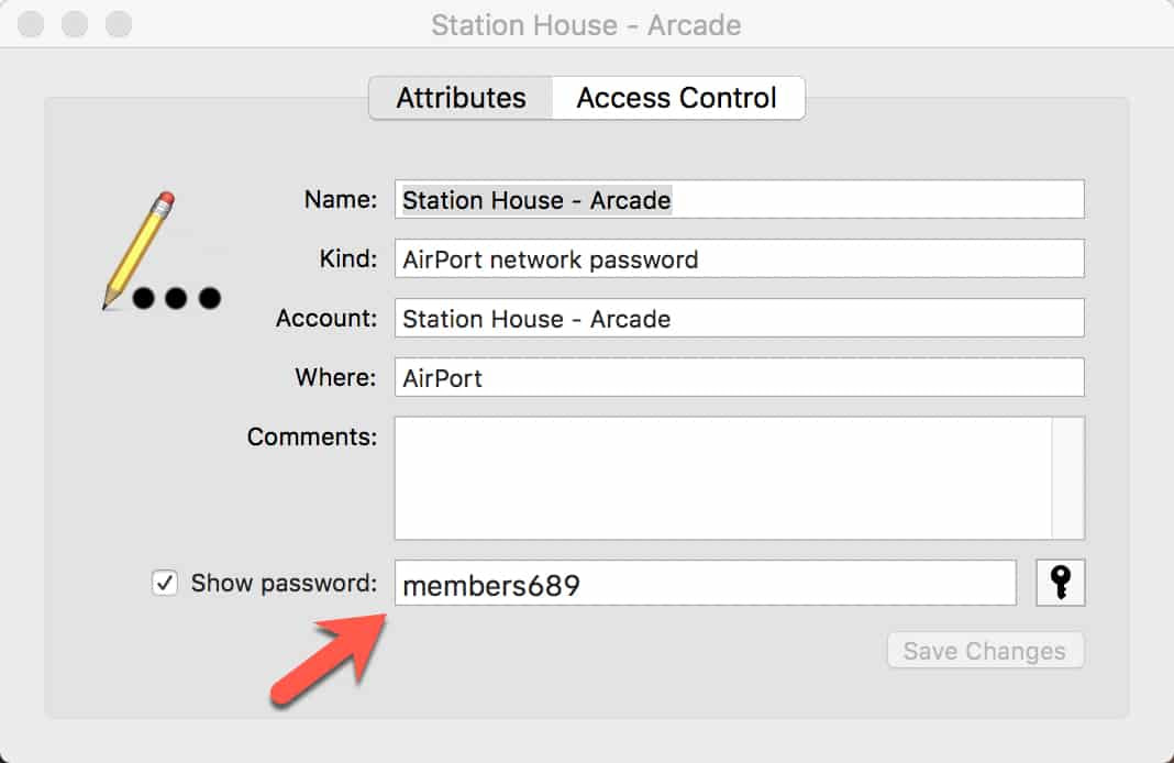 Locate saved wifi password on mac