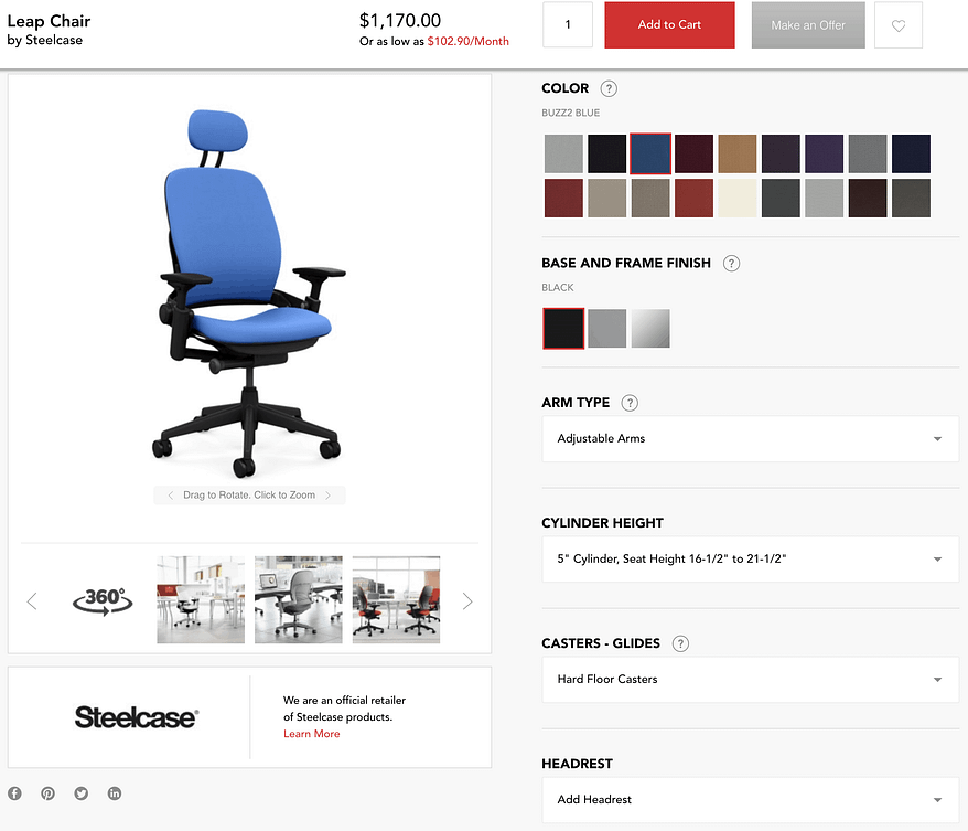 OfficeDesigns chair customizer