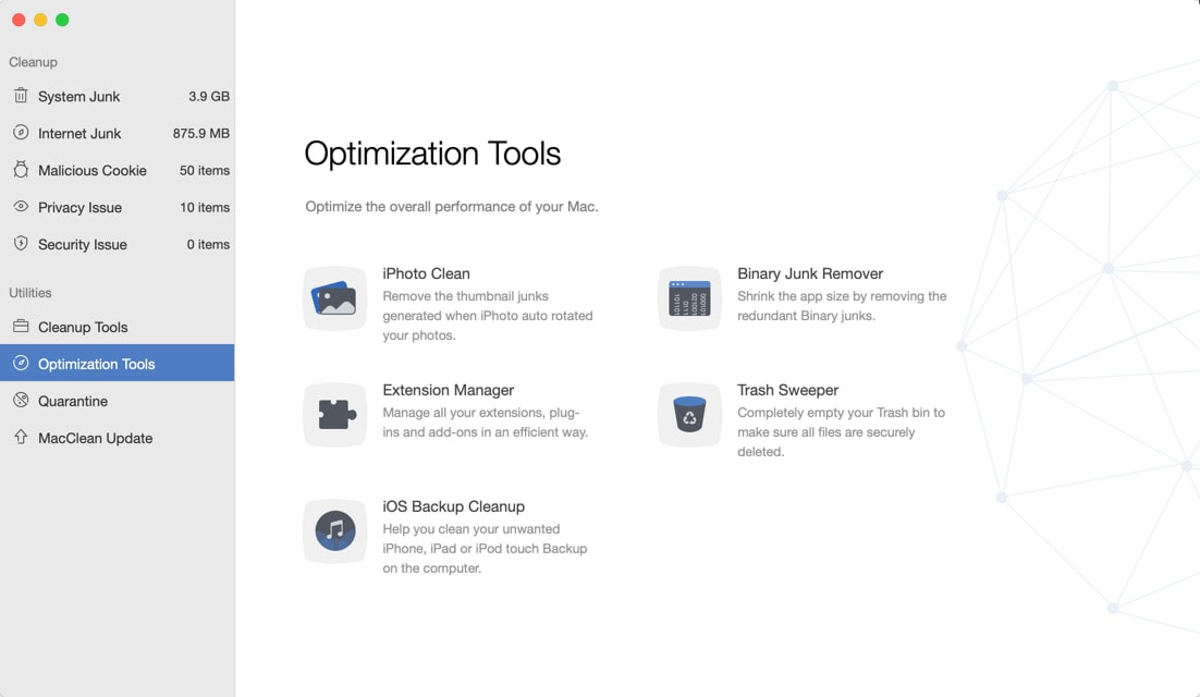 Mac Clean 3 Optimization Tools