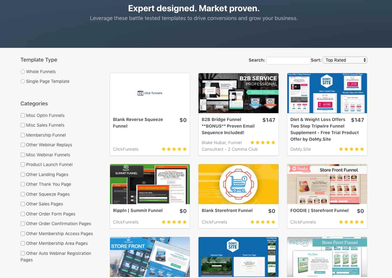 ClickFunnels Template Library