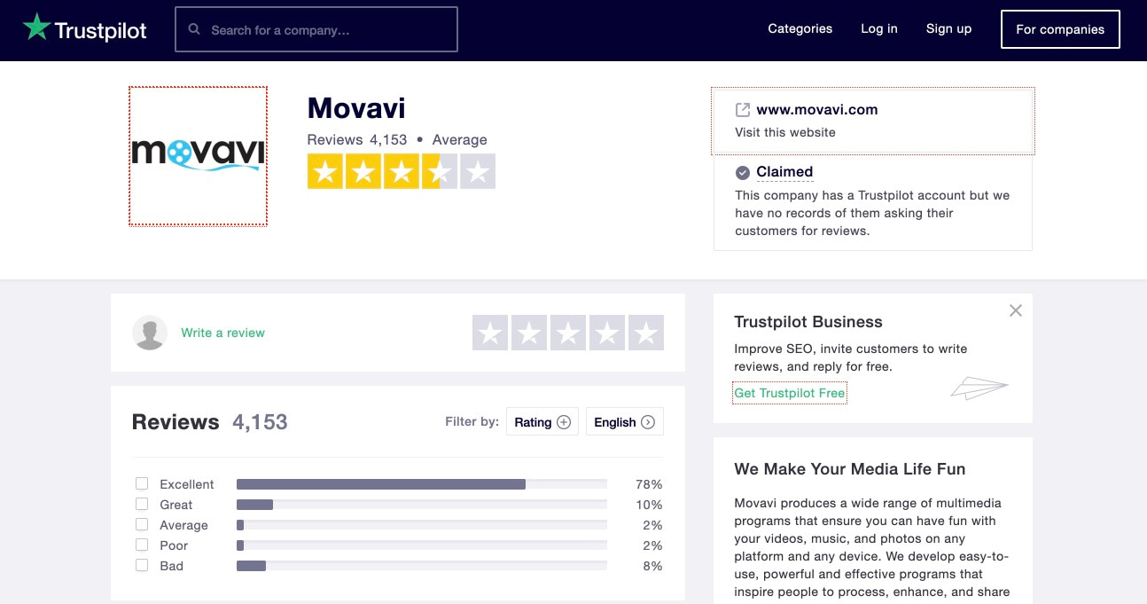 Movavi Company Trustpilot Reputation