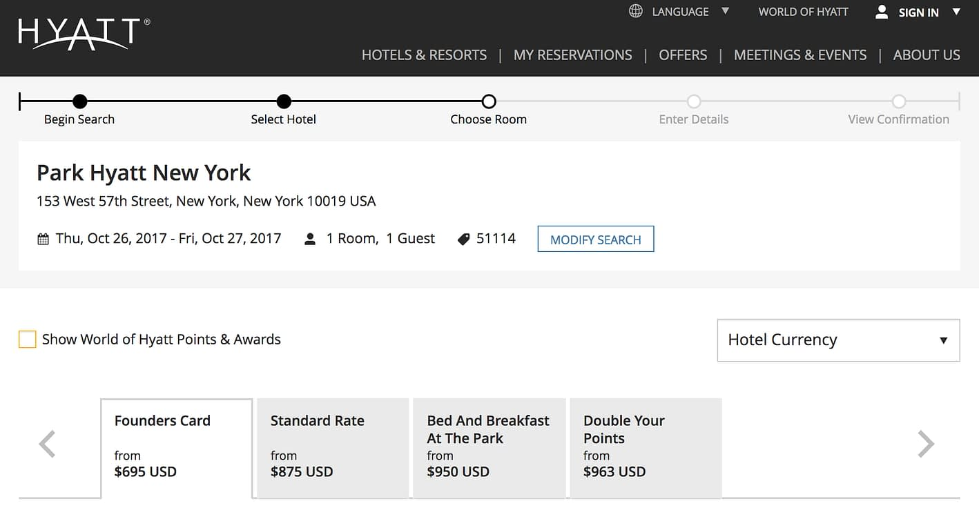 Park Hyatt NYC - FoundersCard Benefits