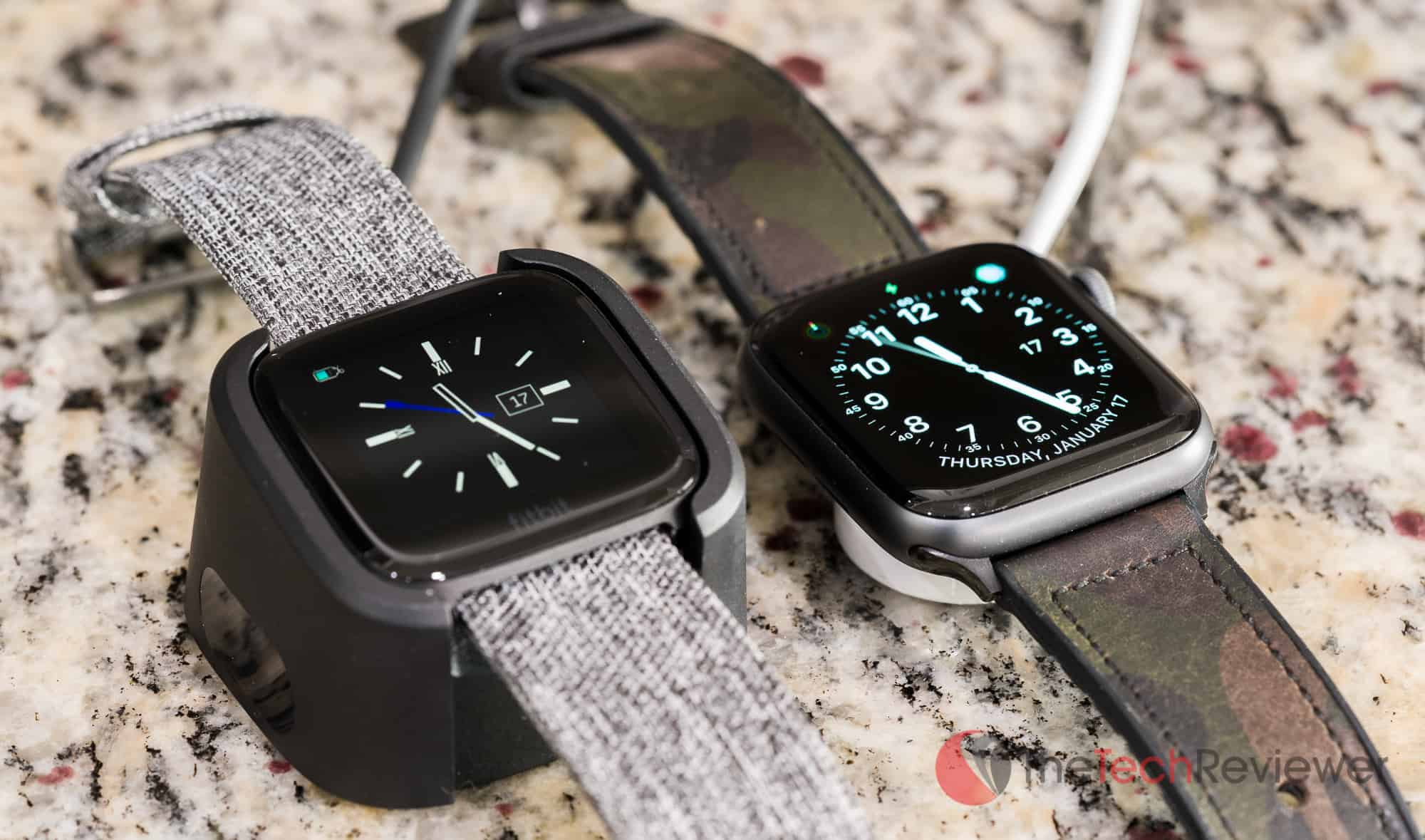 Fitbit Versa versus Apple Watch Charging