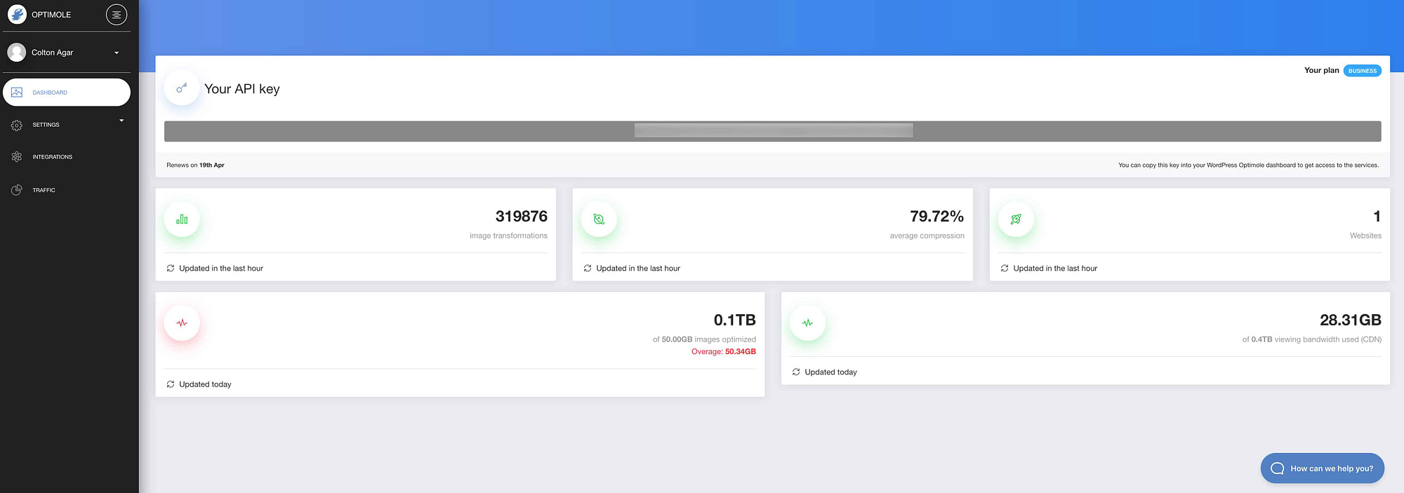 Optimole Web Dashboard