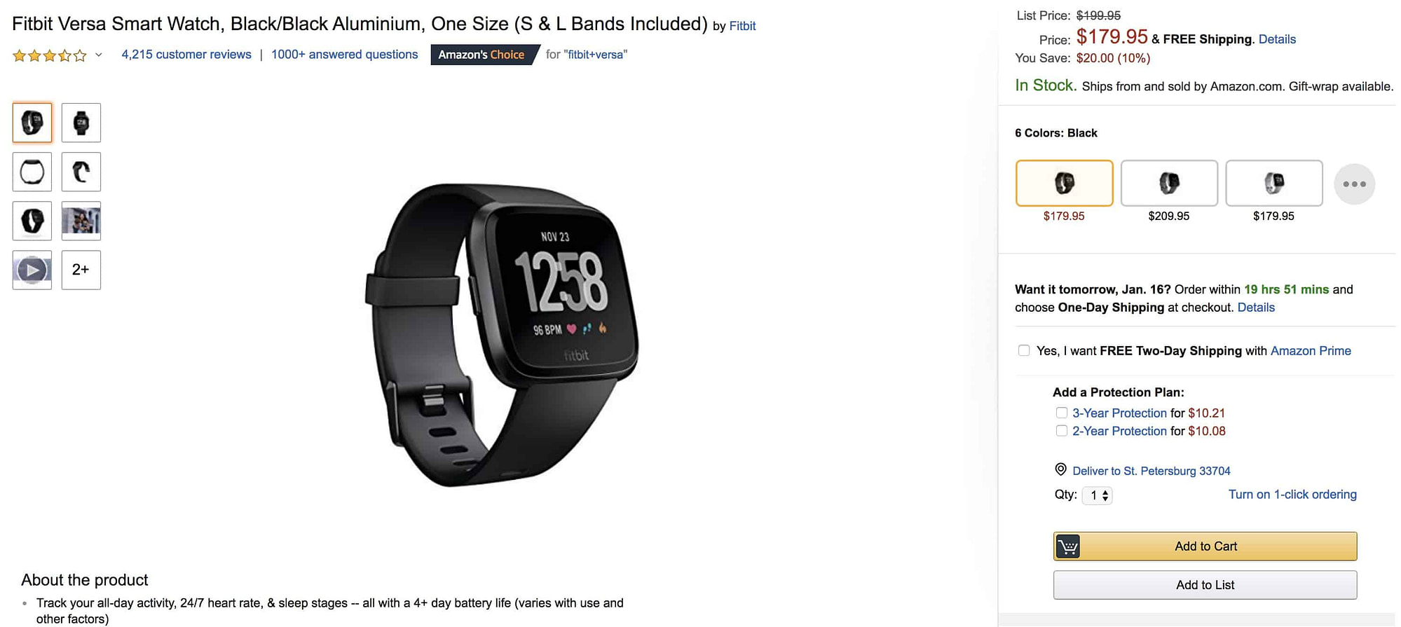 Fitbit Versa Amazon Product Page